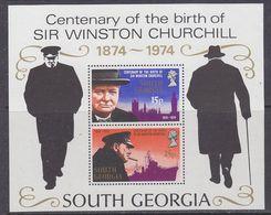 South Georgia 1974 Sir Winston Churchill M/s  ** Mnh (48603) - Géorgie Du Sud