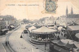 28-CHARTRES- PLACE DES EPARS, PENDANT LES FOIRES- VOIR MANEGE - Chartres