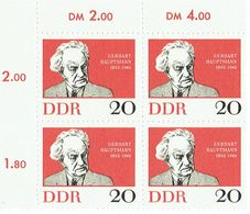 DDR 1962 Mi 925 Gerhart Hauptmann Noble Prize Block Of 4 Scott# 633 MUH - Blokken