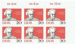 DDR 1962 Mi 925 Gerhart Hauptmann Noble Prize Block Of 6 Scott# 633 MUH - Blokken