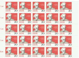 DDR 1962 Mi 925 Gerhart Hauptmann Noble Prize Block Of 25 Scott# 633 MUH - Blokken