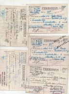 (militaria)  Villacoublay : Lot De 5 Permissions 1950 (PPP23346) - Documents