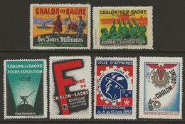 France C.1930 Vignettes Chalon-sur-Saône 5 Diff. Neufs Sans Charnière - Commemorative Labels