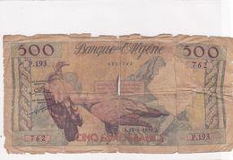 BILLET ALGERIE 500 FRANCS Du 13 Mars 1958 - Vautour Fauve - Pick 117 - Algerije