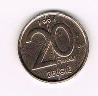 )  ALBERT II  20 FRANK  VL  1994 - 1993-...: Alberto II