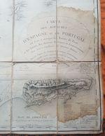 CARTE DES ROYAUMES D'ESPAGNE ET DE PORTUGAL PAR THOMAS LOPEZ - CHEZ E. COLLIN - 1808 - ENTOILEE - GIBRALTAR - Carte Geographique