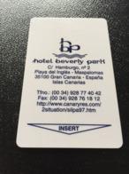 Hotelkarte Clef De Hotel Tarjeta Hotel Room Key  HOTEL BEVERLY PARK GRAN CANARIA  CASINO - Phonecards