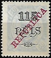 Congo 1915 D. Carlos I S/C Republica 115r S/ 50r Azul Claro D 13 1/2, 1 Val S/goma C/ Charn. + 1 Val  MH (ver Descrição) - Congo Portugais