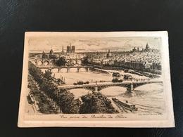20 - Vue Prise Du Pavillon De Flore  (PARIS) - Gravure Cadre En Creux - 1915 - Ch. PINET Envoyé Par L`auteur - France