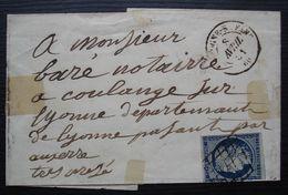 Boulogne Sur Seine 1851 Timbre N°4 Oblitération Grille Sur Lettre Pour Coulange Sur Yonne, Sans Correspondance - 1849-1876: Klassieke Periode