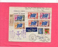 Pli En Recommandé Avec La Série Du Conseil De L'Europe . ( Premier Vol ) - Briefmarken