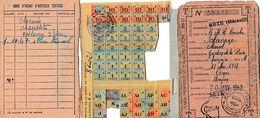 1944 RESTRICTIONS - SETE - Carte D'Alimentation Et De Textiles Pour Marcel LACAZE, Gardien De La Paix - Nombreux Tickets - Documents Historiques