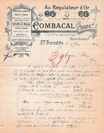 """1904 SAINT-ETIENNE - """"AU REGULATEUR D'OR"""" - Horlogerie - Maison COMBACAL Succ. - Documents Historiques"""