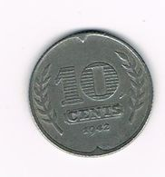 )  NEDERLAND  10 CENTS  1942  WILHELMINA - [ 3] 1815-… : Royaume Des Pays-Bas