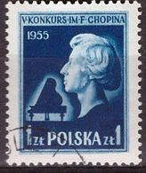 """PIA - POLONIA - 1955 : 5° Concorso Internazionale Di Piano """"Fréderic Chopin"""" A Varsavia  - (Yv  784) - 1944-.... Republic"""
