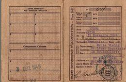CARTE INDIVIDUELLE D ALIMENTATION - Vieux Papiers