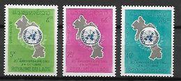LAOS    -   1965.   Y&T N° 120 à 122 *.    20° Anniversaire De L' ONU - Laos