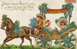 Tres Belle Carte Gaufrée Enfants En Calèche . Embossed Horse Cart With Girls - Taxis & Fiacres