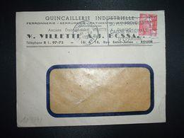 LETTRE TP M. DE GANDON 15F OBL.MEC.11 VII 1951 ROUEN GARE (76) QUINCAILLERIE INDUSTRIELLE M. VILLETTE & J. BOSSAERT - Marcofilia (sobres)