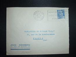 LETTRE TP M. DE GANDON 15F OBL.MEC.30 IX 1951 ROUEN GARE (76) JEAN HOMBERG SOTTEVILLE LES ROUEN - Marcofilia (sobres)