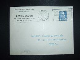 LETTRE TP M. DE GANDON 15F OBL.MEC.8 X 1951 ROUEN GARE (76) DANIEL LEBON FOURNITURES GENERALES POUR USINES - Marcofilia (sobres)