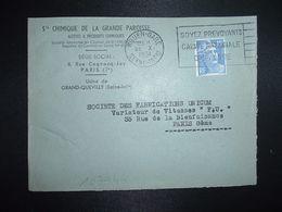 LETTRE TP M. DE GANDON 15F OBL.MEC.22 X 1951 ROUEN GARE (76) Sté CHIMIQUE DE LA GRANDE PAROISSE GRAND QUEVILLY - Marcofilia (sobres)