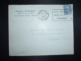 LETTRE TP M. DE GANDON 15F OBL.MEC.11 XII 1951 ROUEN GARE (76) MARCEL CLEMENT PRODUITS DE REGIMES - Marcofilia (sobres)