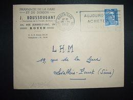 LETTRE TP M. DE GANDON 15F OBL.MEC.19-11 1952 ROUEN GARE (76) PHARMACIE DE LA GARE ET DU DONJON J. BOUSSOUGANT - Marcofilia (sobres)