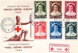 N° 912/917 Joséphine-Charlotte Infirmière Sur Enveloppe Avec Oblit. Automobiel Postkantoor - Storia Postale