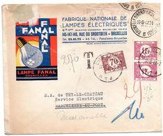 Lettre Non-affranchie De Bruxelles Taxée à Charleroi - Pub Lampe FANAL - Covers