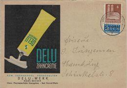 Illustrierte Karte Zahncreme - Frauenkirche Mit Notopfer STeuermarke Hobbef 1949 - Rs: Privater Zudruck Delu-Werk - Bizone