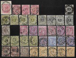 38 (4x), 42 (4x), 43 (5x), 44, 46 (6x), 47 (4x), 48 (4x), 49 (3x) Et 50 (5x) Diverses Oblitérations (Nic 060) - 1884-1891 Leopoldo II