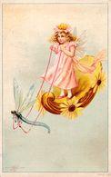 FILLETTE / ANGELOT En CIEL Et LIBELLULE ATTELLÉE / GIRL In THE SKY And HARNESSED DRAGON-FLY ~ 1900 (af072) - Autres