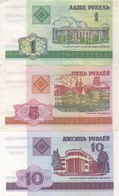Belarus : Série De 3 Petits Billets 1 - 5 - 10 Rublei 2000 TBE-UNC-UNC - Wit-Rusland