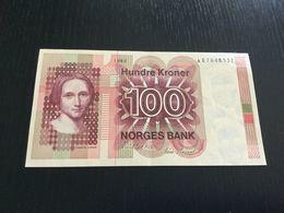 NORWAY 100 KRONER BANKNOTE 1982 AU - Noorwegen