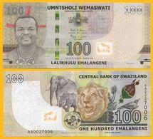 Swaziland 100 Emalangeni P-42 2017 (2018) UNC Banknote - Swaziland