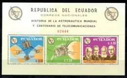 Ecuador, 1966, International Telecommunication Union, ITU, Space, United Nations, DISCOLORATION, MNH, Michel Block 14 - Ecuador