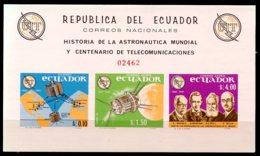 Ecuador, 1966, International Telecommunication Union, ITU, Space, United Nations, DISCOLORATION, MNH, Michel Block 15 - Ecuador