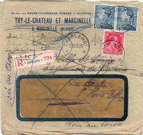 N° 428 + 430 (2 Ex.) Perforés T.M. Sur Lettre Rec. De Charleroi Vers La France - Nombreuses Recherches (voir Dos) - 1934-51
