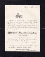 HANNUT DETIEGE Maximilien Ancien échevin Membre Du Bureau De Bienfaisance 77 Ans 1894 Familles MOREAU MOTTIN - Décès