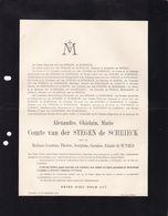 THILDONCK LEUVEN TILDONK Van Der STEGEN De SCHRIECK Alexandre Veuf De WYELS 1829-1910 Faire-part - Décès