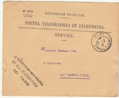 Tarn, Enveloppe De Service PTT Cad Albi Direction 1942 Et Griffe Directeur Des PTT Du Tarn - 1921-1960: Periodo Moderno