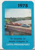 Romanian Small Calendar - 1978 Loto-Pronosport  - Lottery Calendar - Calendars