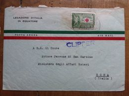 ECUADOR 1950 - Posta Aerea - Lettera Spedita In Italia Con Annullo Arrivo + Spese Postali - Ecuador