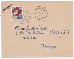 Cachet Hexagonal Pointillés ANTONIBE 24.11.1959 MADAGASCAR Timbre Fleur  Sur Lettre Vers La FRANCE  Voir 2 Scans - Madagascar (1889-1960)