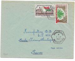 Cachet Hexagonal Pointillés ANDRAMASINA 1.7.1960 MADAGASCAR Sur Lettre Vers La FRANCE Par Avion Vers La France - Madagascar (1889-1960)