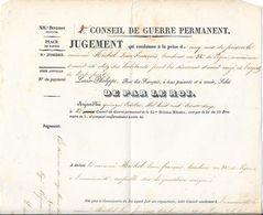 1832 - XIIe DIVISION Militaire - Place De NANTES - 2e CONSEIL DE GUERRE PERMANENT - Jugement Qui Condamne à La Peine ... - Documents Historiques
