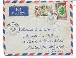 Cachet Andriamena 12.12.1960   MADAGASCAR  Lettre Vers La FRANCE -NANTES Par Avion  -2 TIMBRES - Madagascar (1889-1960)