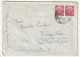 Bund MeF Michel Nr. 185 X, Waagerechtes Paar, Freiburg 21.11.55 Nach Bonn, 3 Scans - [7] Federal Republic