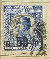 SERBIA,HRVATA I SLOVENACA,KING ALEXANDER,SURCH.50p-USED STAMP - Serbien